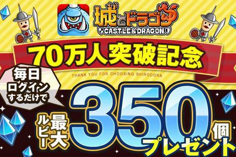 iOS 版 『城とドラゴン』 の登録ユーザー数が70万人を突破!記念の2大イベントが開催!