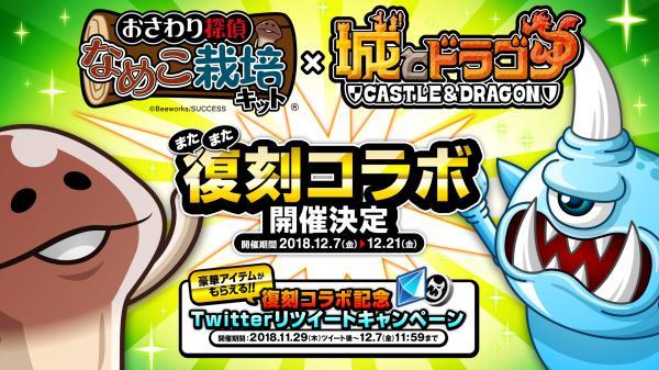 『城とドラゴン』と『おさわり探偵 なめこ栽培キット』の復刻コラボ開催が決定!